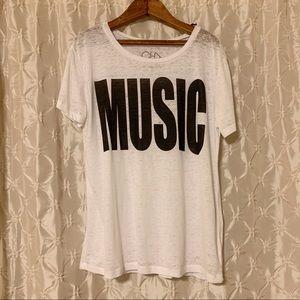 Chaser Music Burnout White Tee Shirt